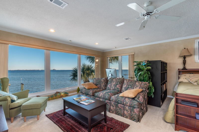 Master bedroom sitting room in Shalimar, FL waterfront home