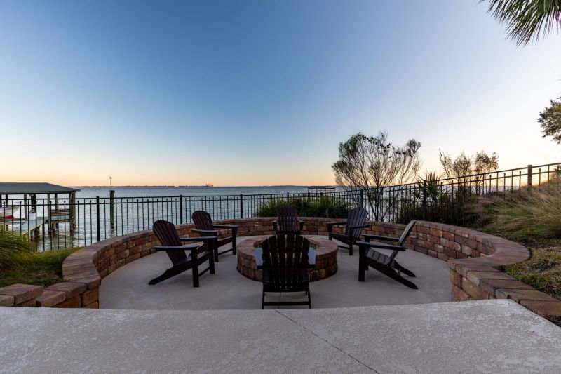 Fire pit in Shalimar, FL waterfront home