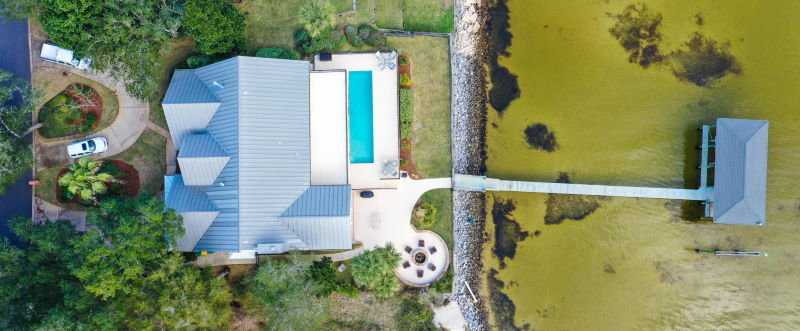 Overhead shot of Shalimar, FL waterfront home