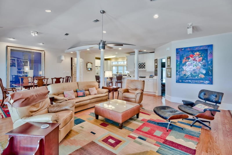 Living room in Four Mile Village home in Miramar Beach, Florida