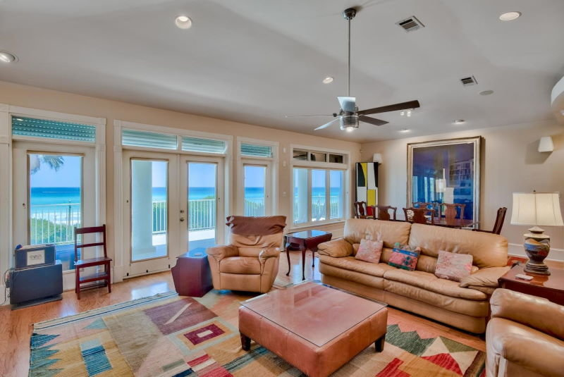 Living room with Gulf views in Four Mile Village home in Miramar Beach, Florida