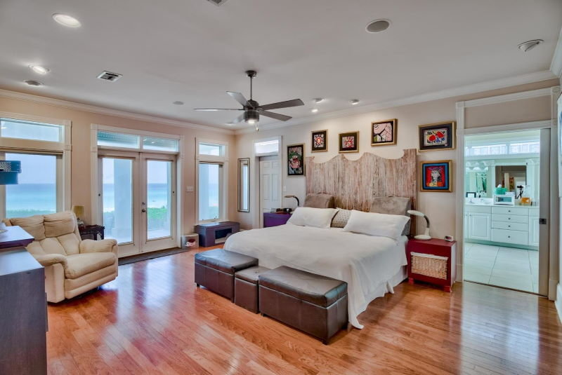 Master bedroom in Four Mile Village home in Miramar Beach, Florida