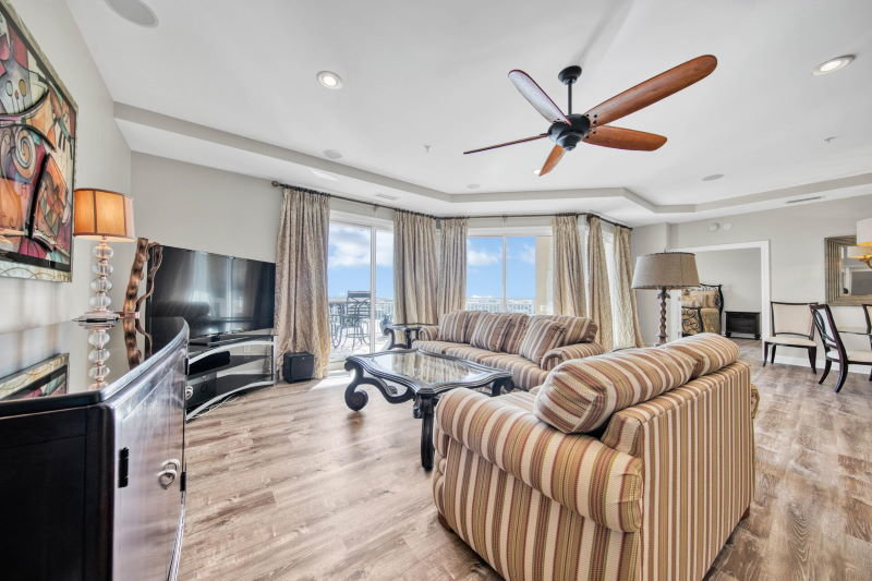 Living room in Grand Harbor condo