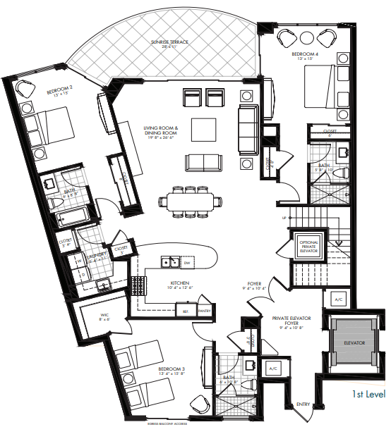 St. Kitts at Silver Shells - Basseterre Penthouse 1st level floor plan