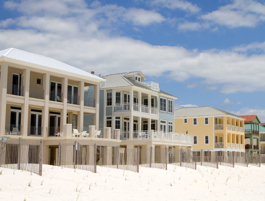 Destin, Florida beach and gulf front homes