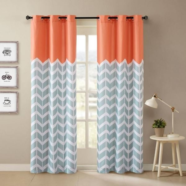 Drapes accenting Living Coral
