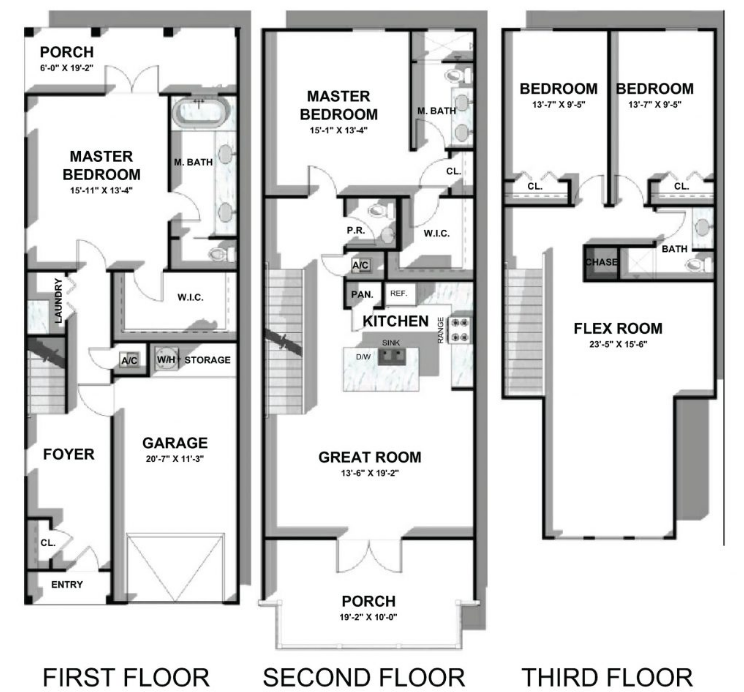 The Heron floor plan at 30A Townhomes at Seagrove Beach