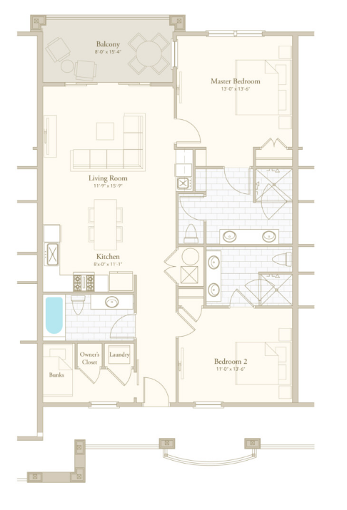 Parkview 2 floor plan - Parkside at Henderson Beach