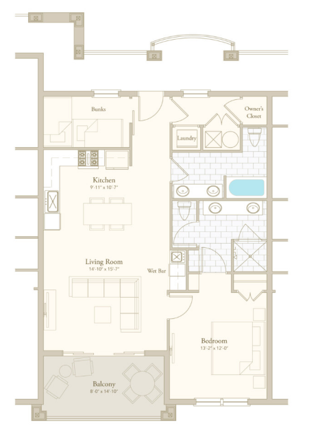 Poolside 1 floor plan - Parkside at Henderson Beach