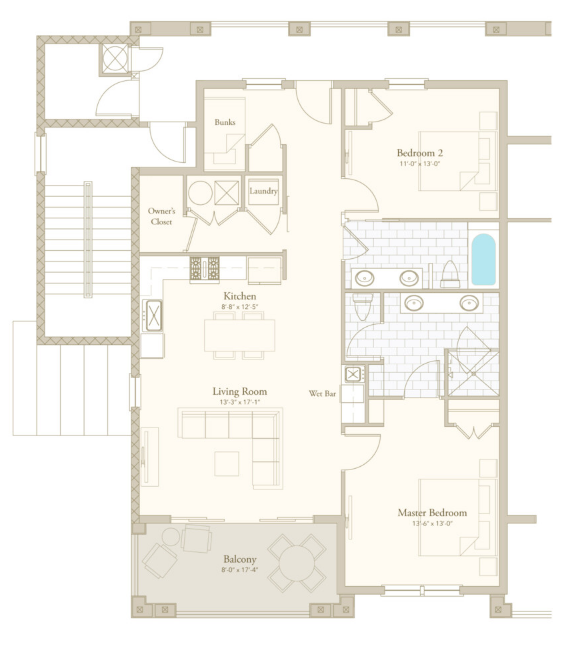 Poolside 2 floor plan - Parkside at Henderson Beach