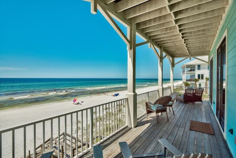 Porch view from Gulf Trace beachfront home