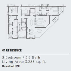 Residence 1 floor plan, Thirty One condos in Santa Rosa Beach