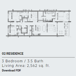 Floor plan for residence 2 at Thirty One condos