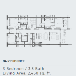 Floor plan for residence 4 at Thirty One condos, Santa Rosa Beach