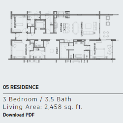Floor plan for residence 5 at Thirty One condos, Santa Rosa Beach