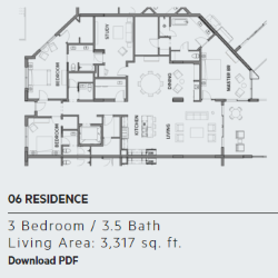 Floor plan for residence 6 at Thirty One condos, Santa Rosa Beach