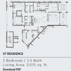 Floor plan for residence 7 at Thirty One condos, Santa Rosa Beach