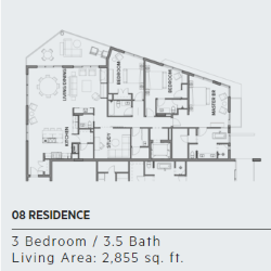 Floor plan for residence 8 at Thirty One condos, Santa Rosa Beach