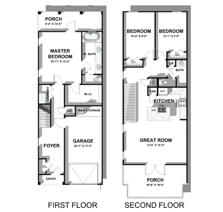 Sandpiper floor plan at 30A Townhomes at Seagrove Beach