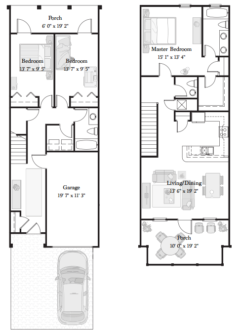 Floorplan for the Sea Shell unit at 125 Crystal Beach Drive Townhomes, Destin, Florida